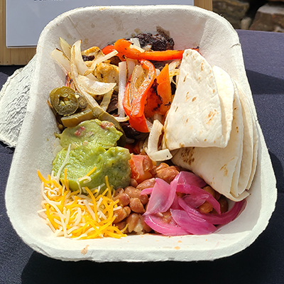 compostable dish with fajita street taco fixings