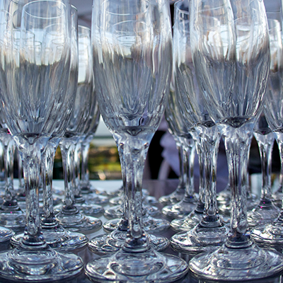 a picture of empty glass goblets on a table