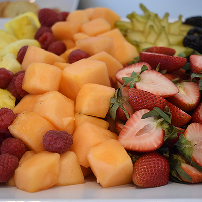 Piles of fresh fruit on a platter